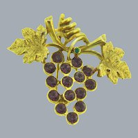 Signed LIA vintage figural grape vine and cluster Brooch with purple and green rhinestones