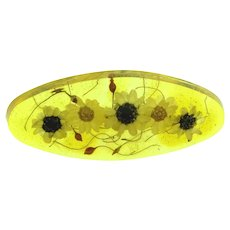 Vintage Lucite Bar Pin with dried flowers