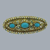 Vintage marked 377 Czechoslovakian Brooch with enamel flowers and blue cabochons