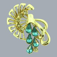 Vintage abstract 1950's floral Brooch with blue and crystal rhinestones