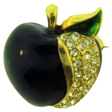 Vintage small figural apple Scatter Pin with crystal rhinestones and enamel