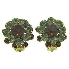 Vintage rhinestone clip-on Earrings in smoky and dark topaz hues
