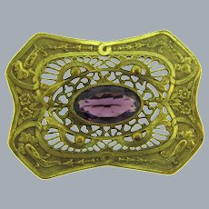 Antique Victorian repousse Sash Pin with large amethyst glass stone
