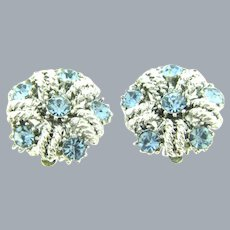 Vintage small silver tone clip-on Earrings with light blue rhinestones