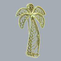 Vintage figural filigree silver wire palm tree Scatter Pin
