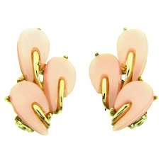 Vintage large clip-on earrings with pink thermoset petals