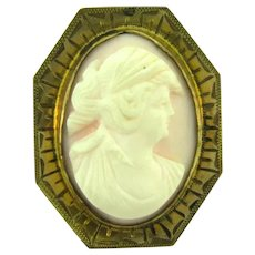 Vintage pink stone Cameo in gold filled frame Brooch