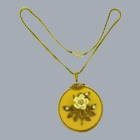 Signed Miriam Haskell large pendant Necklace with celluloid flower and crystal rhinestones