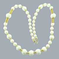 Signed Christian Dior 1971 Germany white plastic long beaded Necklace