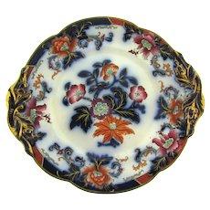 Antique flow blue polychrome Ridgway 7 1/2 inch porcelain Plate