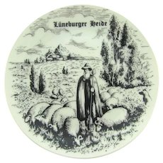 Vintage Bavaria small souvenir plate of Luneburger Heide Germany