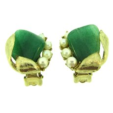 Signed Swoboda clip-on Earrings with jade and pearls