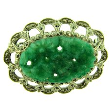 Vintage domed silver tone Brooch with marcasites and peking glass