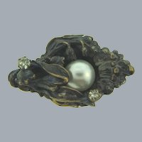 Vintage small dark gold tone floral Scatter Pin with pearl and crystal rhinestones