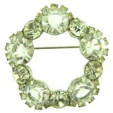 Vintage silver tone Brooch with crystal rhinestones