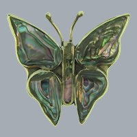 Marked Mexico small figural Butterfly Brooch with abalone wings