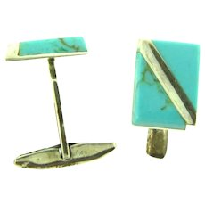 Marked Mexico 950 silver with turquoise Cufflinks