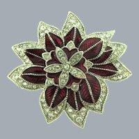 Vintage flower Brooch with enamel and crystal rhinestones