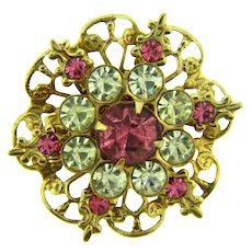 Vintage retro small Brooch with crystal and pink rhinestones