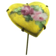 Antique long Hat Pin with gilded heart shaped top and hand painted roses