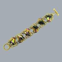 Vintage gold tone chain link Bracelet with black glass stones