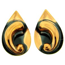 Vintage copper clip-on Earrings with a tear drop design