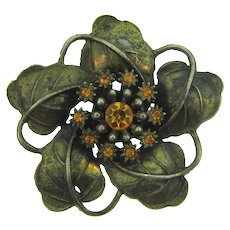 Signed Little Nemo large flower Brooch with topaz rhinestones