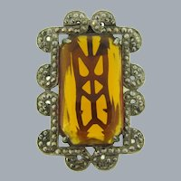 Vintage Art Deco Dress Clip with large topaz glass stone with marcasites