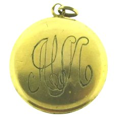 Signed W&S.B gold filled vintage Locket with initials HM