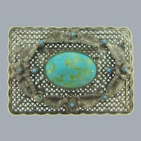 Vintage silver tone Brooch with floral design, tiny blue beads and art glass cabochon