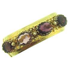 Vintage hinged wide Bangle Bracelet with purple rhinestones and imitation pearls