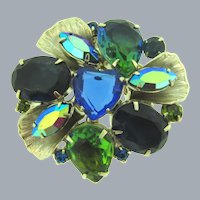 Vintage silver tone floral Brooch with blue and green rhinestones