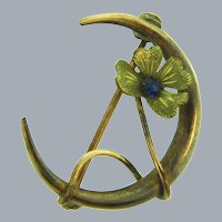 Vintage gold tone crescent moon Scatter Pin with flower