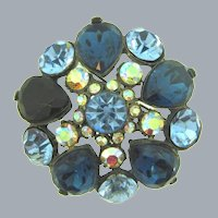 Vintage domed rhinestone Brooch with blue and AB stones
