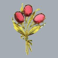 Vintage large pot metal floral with dark pink and crystal rhinestones