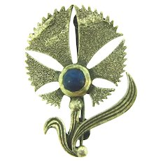 Marked 925 sterling silver small flower Brooch with lapis lazuli stone