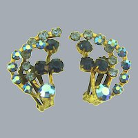 Marked Made in Austria vintage clip-on rhinestone Earrings in blue shades