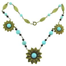 Vintage floral gold tone choker Necklace with blue and black beads