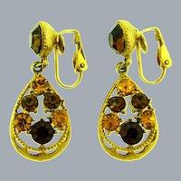 Vintage dangling rhinestone clip-on Earrings in fall shades