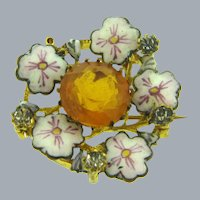 Vintage early Scatter Pin with center orange paste stone, crystal paste stones and enamel flowers