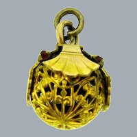 Vintage early filigree gold filled ball Charm/Pendant