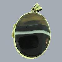 Vintage banded agate souvenir Locket Pendant
