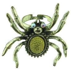 Vintage very large figural spider adjustable fashion Ring