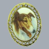 Vintage large Brooch with Collie Dog print on Porcelain