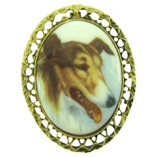 Vintage large Brooch with Collie Dog print on Porcelain