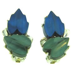 Vintage mid Century blue and green thermoset clip-on Earrings