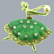 Vintage mid century Ballerina Brooch with molded thermoset shirt, crystal and AB rhinestones