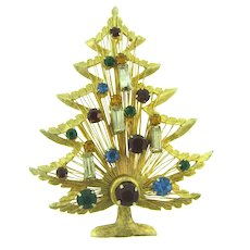 Signed Brooks vintage Christmas Tree Brooch with rhinestones