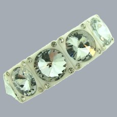 Vintage white plastic link Stretch Bracelet with headlight crystal rhinestones
