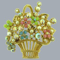 Signed ART flower basket Brooch with faux pearls, rhinestones and beads